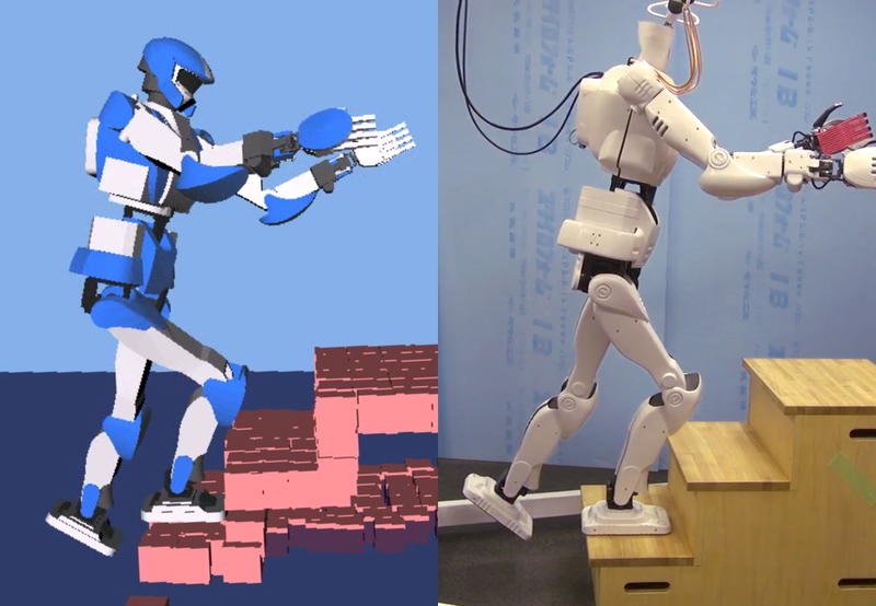 Humanoid stair climbing in simulation and on the real robot